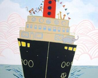 Boat art, Harbor Zoo - NEW Hawk Art- PRINT from original, boat, dock, zoo, baby and kids decor, steam boat, ocean, housewares