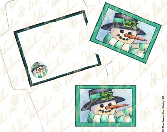 Snowman Note Card & Envelope Set 3 - Digital Stationery - Instant Download - Printable Files - JPG + PDF Formats