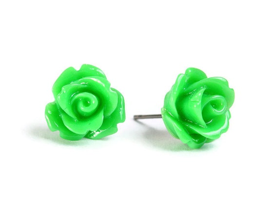 Green rose rosebud flower surgical steel hypoallergenic stud earrings READY to ship (436)