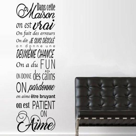 sticker dans cette maison on est. Black Bedroom Furniture Sets. Home Design Ideas
