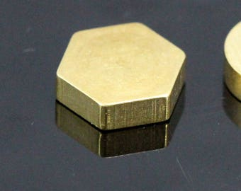 "raw brass stamping hexagonal 8 x 8 x 3.5 mm 5/16"" x 5/16"" x 9/64""  finding hexagonal industrial design 1302"