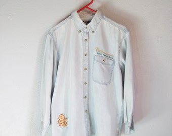 VINTAGE LEE Cute Kitsch UCSD Infant Care Baby Faded Denim Shirt - Size L