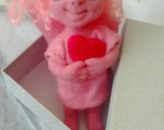Cute Little Pinky Angelgirl Angel Doll Art Doll Felted Art Doll
