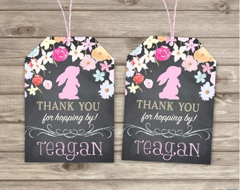 Bunny Thank You Tags Flower Chalkboard Floral Wood Bridal Shower Thank You Tags Flower spring Birthday Butterfly Favour Tags Gift TT033