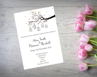 Personalised Handmade Wedding Day or Evening Invitation Invite x 50 Birdcage WI18