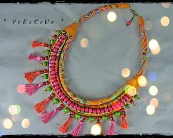 Necklace VERACRUZ fabric predominantly orange and yellow - orange leather, wood beads and tassels