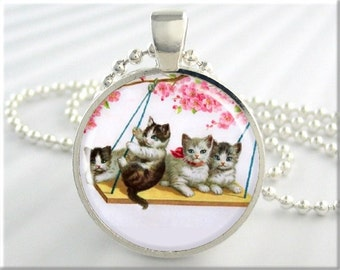 Kitten Art Pendant, Cat Jewelry, Tree Swing Kittens Necklace, Resin Pendant, Round Silver, Gift For Cat Lover (218RS)