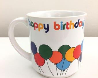 Vintage Happy Birthday Balloons Japanese Mug