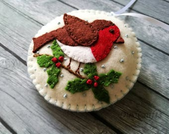 Felt Robin bird ornament, Felt Christmas ornaments, Christmas decoration, Christmas decor, Woodland Christmas Felt bird ornament