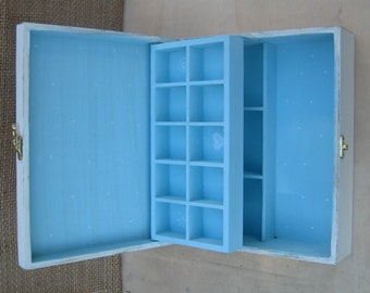 "WOODEN JEWELRY BOX Cream - Light blue ""Shabby Chic"""