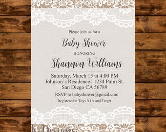 Burlap and lace baby shower invitation, printable rustic baby shower invite, neutral gender burlap and lace invitation