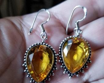 Honey Quartz Teardrop Earrings!