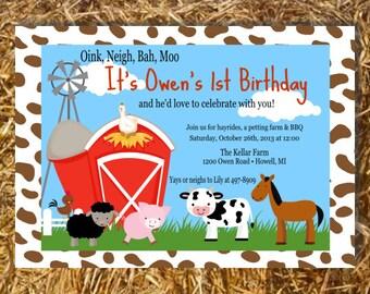 Barnyard Farm Animals Invitation Birthday Party Baby Shower