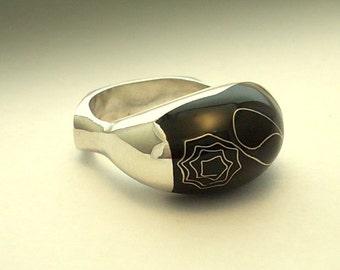Black Rose Ring-  Silver Art.