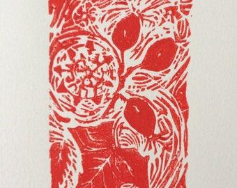 HEDGEROW  - Original Linocut Print