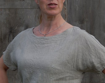 Linen T- shirt Blouse Over-sized Flax Shirt 100 % Flax Hand Made Clothing for Her Size S- M