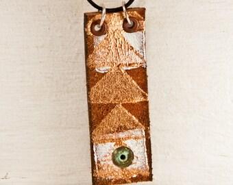 Sale  Long Necklace Large Pendant Primitive Jewelry Metal Patina Jewellery Bohemian
