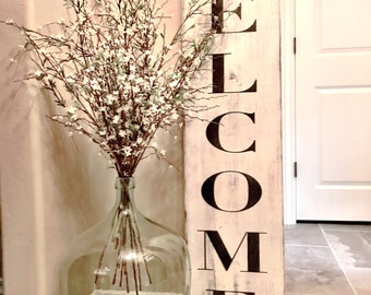 Welcome Wood Sign, Vintage, Farm House, Rustic, Shabby Chic, French Country