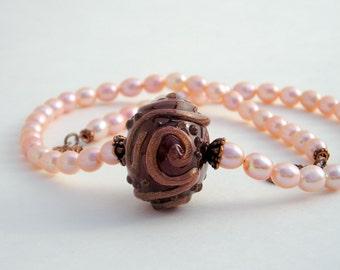 Apricot Pearl Pendant Necklace Set, Lampwork Bead Pendant, Copper, Brown, Peach