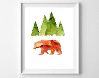 Bear Art Print, Printable Bear Art, Watercolor Bear, Woodland Animals, Cabin Decor