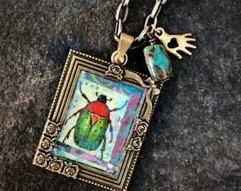 Vintage Style Framed Scarab Beetle Pendant on Antiqued Brass Chain with Charms