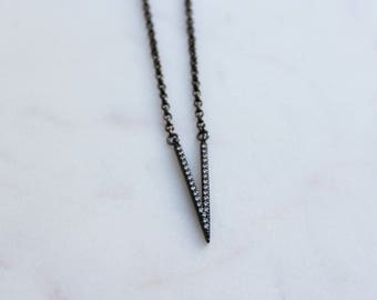 Vega Gunmetal Pave Arrow Layering Necklace