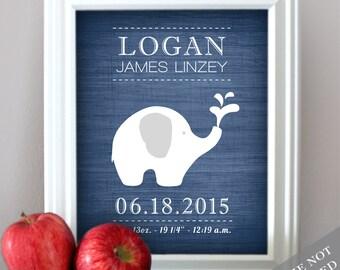 Elephant Baby - Wall Decor - Nursery Art - Birth Announcement - Baby Nursery - Newborn Gift - Art Print or Canvas
