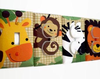 Jungle Light Switch Cover - Jungle Nursery Decor - Zebra Outlet Cover - Boys Nursery Decor - Jungle Buddies Giraffe Zebra Lion Bedroom