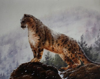 Snow Leopard painting, Show leopard art, Big cat painting, Original painting, Oil on canvas, Wall art, Large oil painting