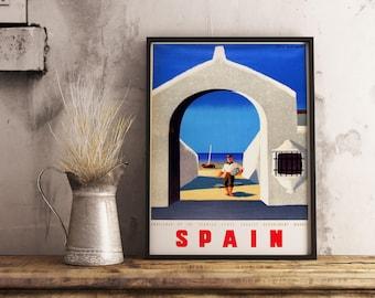 Spain Travel Poster| Retro Spain Poster| Vintage Spain Poster| Wall Art Print| Art Deco Poster| Wall Decor Print| Spain Wall Art| VTC011