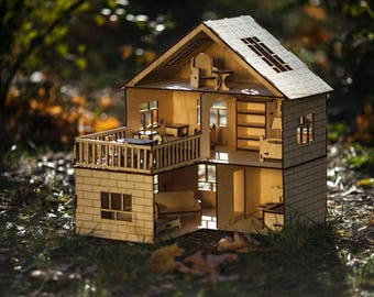 Premium house for dolls and manual DXF Dollhouse Premium+ furniture . Vector model for laser cut. Instant download.
