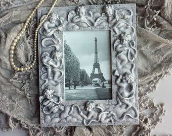Angels Cherubs Gray Picture Frame Eiffel Tower Paris Romantic Wedding Cottage Shabby Chic French Paris Apartment Victorian Style Decor