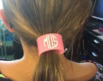 Monogrammed Ponytail cuff - monogram hair -monogrammed hairband - monogram hairband - monogrammed cuff - monogrammed ponytail - monogram bow