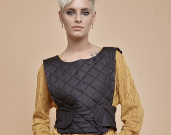 NEW! Protect you body - protect your heart - quilted glossy vest- leather like glossy vest