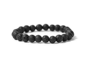 Men's Lava Bracelet | Men's stretch bracelet | black yoga jewelry | stamina, strength, protection, natural lava stone