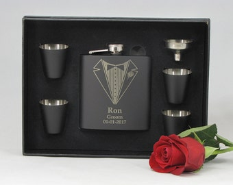 1 Personalized Best Man Gift, Groomsmen Gift, Engraved Flask Set, Stainless Steel Flask, Personalized Flask, 1 Flask Gift Set