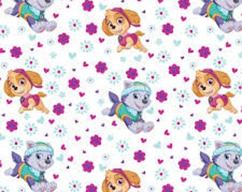 """Paw Patrol Girls Toss on White by David Textiles, 43-44"""" wide, 100% cotton, by the half yard"""
