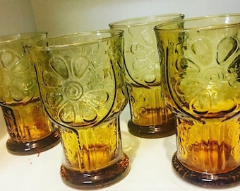 """Set of Four Vintage Amber-colored Libbey """"Country Garden"""" Daisy Pattern Juice Glasses"""