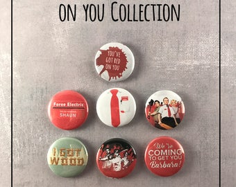 """SHAUN of the DEAD 1"""" Pin Buttons -  Edgar Wright, Simon Pegg, Nick Frost"""