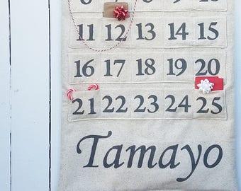 Personalized Hanging Advent Calendar, Family Name Advent Calendar, Rustic Christmas Decor, Farmhouse Fabric Advent Calendar, Custom Advent