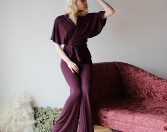 womens pajama set including bamboo lounge pants and wrap bed jacket - NOUVEAU bamboo sleepwear range - made to order
