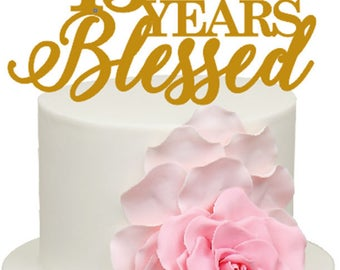 45 Years Blessed 45th Wedding Anniversary Acrylic Cake Topper