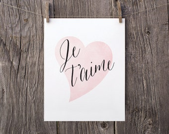 8x10 Love Printable Valentines Day Gift for Her Daughter, Je t'aime Printable Decor, Black Pink Heart French Nursery Decor, I Love You Print