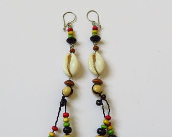 Reggae coloured beads, cowrie shell earrings African style and seeds in