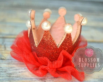Red Glitter Pearl Ruffle Tulle Crowns - DIY Birthday Tiara Crown Headband Clip Hat - Wholesale Craft Supplies - 1st Birthday Bow Princess