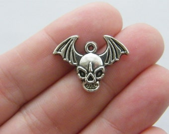 BULK 30 Skull and bat wings charms antique silver tone HC61