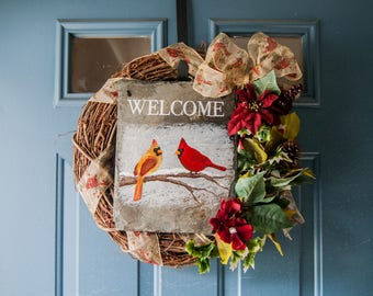 Slate Winter Welcome Sign - Cardinals in Snow