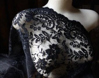 Black Lace on Point d'Esprit Fabric for GRAD, Bridal, Lingerie, Costumes CH 7