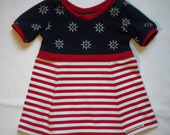 Mark girl dress, navy, kids striped pattern steering wheel/boat, summer, issued dress, available in many sizes, maritim, red,