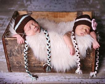 Matching Twins Crochet Earflap Hat Set Custom Size